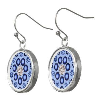 Earrings blue diamondlook