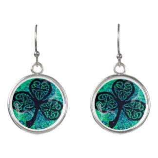 Earrings, Celtic knot, clover sheet, turquoise Earrings