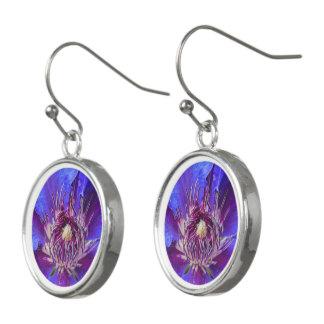 Earrings Purple  Flower