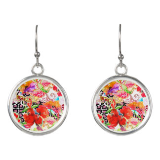 Earrings with floral print