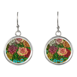 Earrings with vintage rose motive