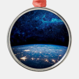 Earth and Galaxy Silver-Colored Round Decoration