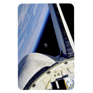 Earth and Moon Behind Discovery Rectangular Photo Magnet