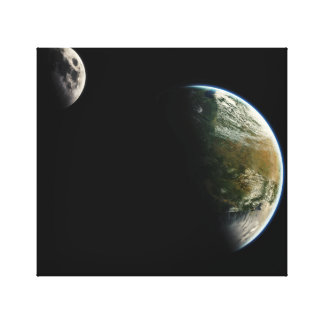 Earth and moon canvas