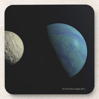 Earth and moon beverage coaster