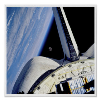 Earth and Moon from Space Shuttle Discovery Poster