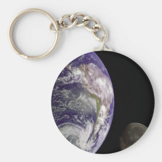 Earth and moon key ring