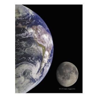 Earth and Moon Postcard