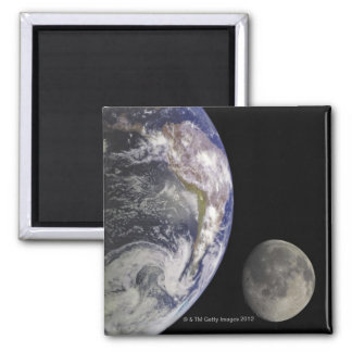 Earth and Moon Square Magnet