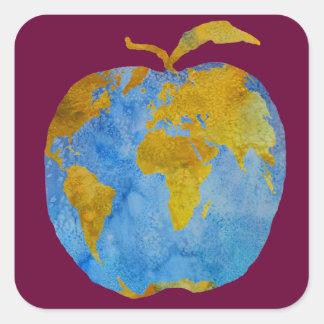 Earth Apple Square Sticker