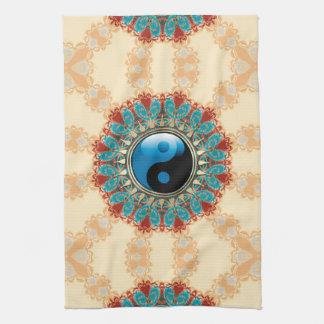 Earth Blue YinYang New Age Flower Tea Towel