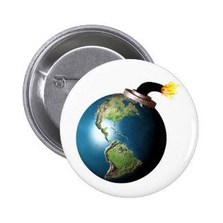 Earth bomb 6 cm round badge