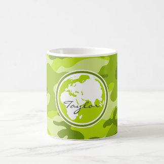 Earth; bright green camo, camouflage classic white coffee mug