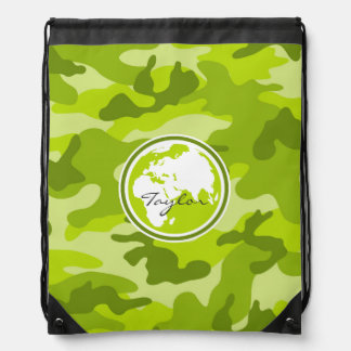 Earth; bright green camo, camouflage cinch bags