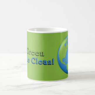 Earth Classic Green 3D Go Green, Breathe Clean! Coffee Mug