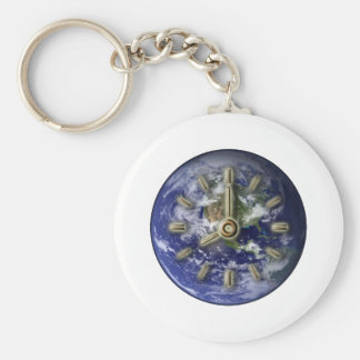 Earth clock key ring