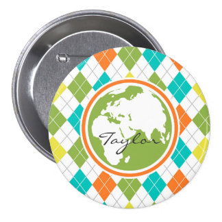 Earth; Colorful Argyle Pattern Pins