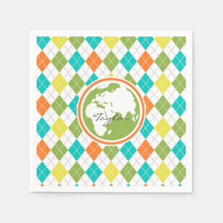 Earth; Colorful Argyle Pattern Disposable Napkin