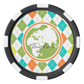 Earth; Colorful Argyle Pattern Poker Chips