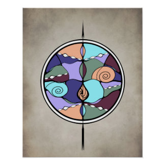 Earth Compass Abstract Poster Print