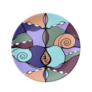 Earth Compass Nouveau Modern Porcelain Plate