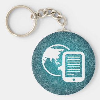 Earth Contacts Pictogram Basic Round Button Key Ring