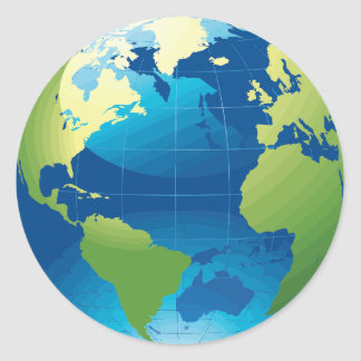 Earth continent globe stickers