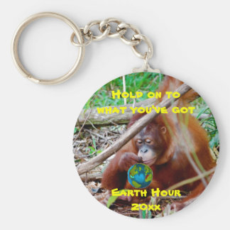 Earth Day and Earth Hour Basic Round Button Key Ring