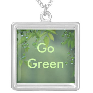 Earth day and think green square pendant necklace