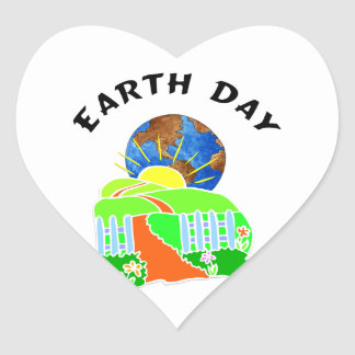 Earth Day at Home Heart Sticker