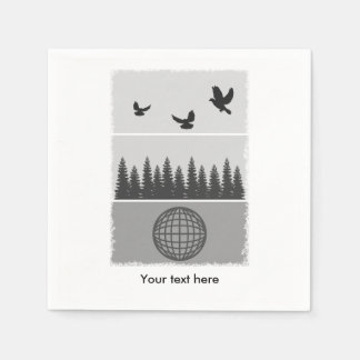 Earth Day Black And White Paper Serviettes