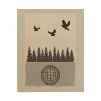 Earth Day Black And White Wood Print