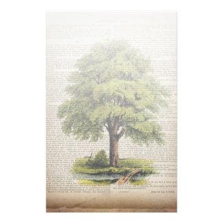 earth day botanical art vintage oak tree stationery design