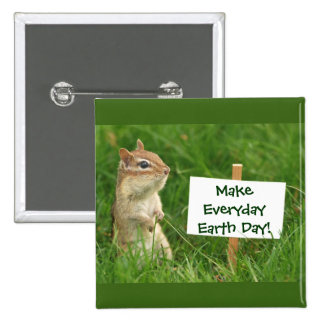 Earth Day Chipmunk 15 Cm Square Badge