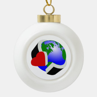 Earth Day Earth Love Ceramic Ball Christmas Ornament