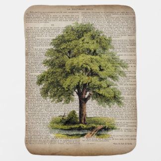 Earth Day ECO dictionary prints vintage oak tree Baby Blanket