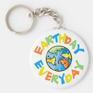 Earth Day Every Day Basic Round Button Key Ring