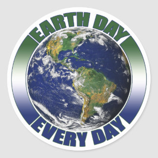 Earth Day Every Day Blue & Green Planet Earth Round Sticker