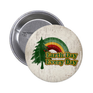 Earth Day Every Day, Retro Rainbow 6 Cm Round Badge