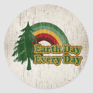 Earth Day Every Day, Retro Rainbow Round Sticker