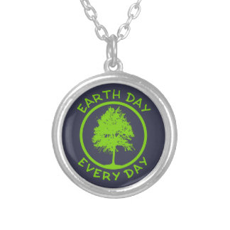 Earth Day Every Day Silver Plated Necklace
