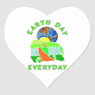 Earth Day Every Day Heart Sticker