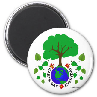 Earth Day Everyday 6 Cm Round Magnet