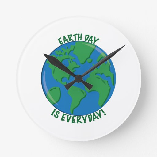 Earth Day Everyday Round Clock