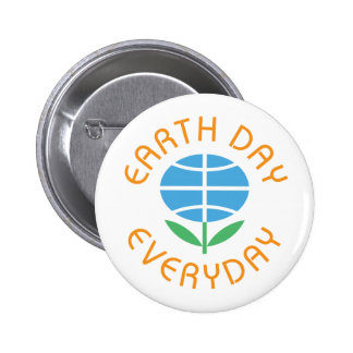 Earth Day Everyday Globe-Flower Logo 6 Cm Round Badge