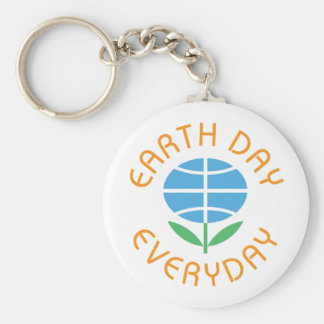 Earth Day Everyday Globe-Flower Logo Basic Round Button Key Ring