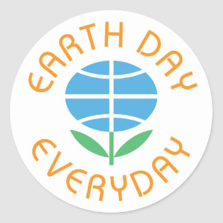 Earth Day Everyday Globe-Flower Logo Round Sticker