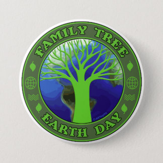 Earth Day Family Tree 7.5 Cm Round Badge