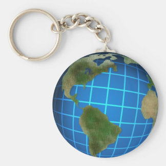 Earth Day Globe Basic Round Button Key Ring