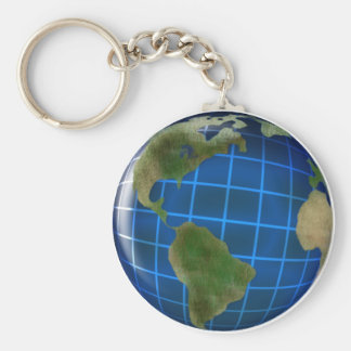 Earth Day Globe with Deep Blue Sea Basic Round Button Key Ring